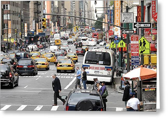 Yellow Dog And Truck Greeting Cards - New York City Street Scene Greeting Card by Darren Martin