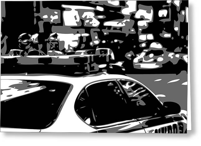 I Heart Ny Greeting Cards - New York Cop Car BW3 Greeting Card by Scott Kelley