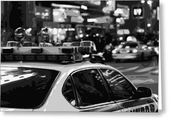 I Heart Ny Greeting Cards - New York Cop Car BW8 Greeting Card by Scott Kelley