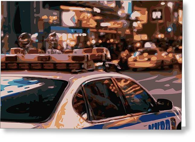 I Heart Ny Greeting Cards - New York Cop Car Color 16 Greeting Card by Scott Kelley