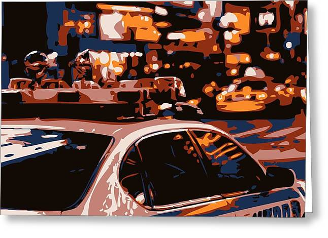 I Heart Ny Greeting Cards - New York Cop Car Color 6 Greeting Card by Scott Kelley
