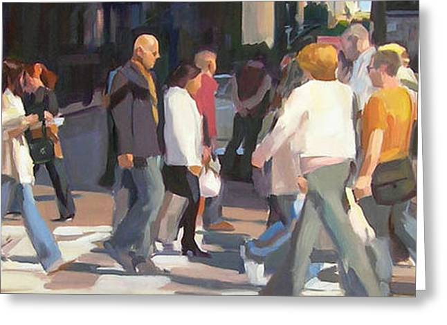 City Scenes Paintings Greeting Cards - New York Crosswalk Greeting Card by Merle Keller