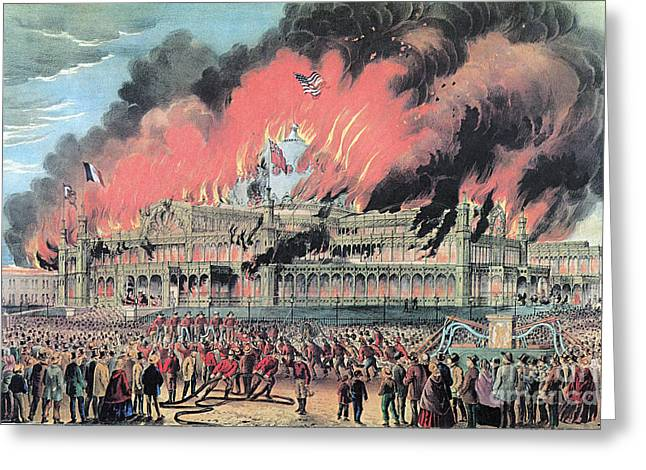 From The Dome Greeting Cards - New York Crystal Palace Fire, 1858 Greeting Card by Photo Researchers