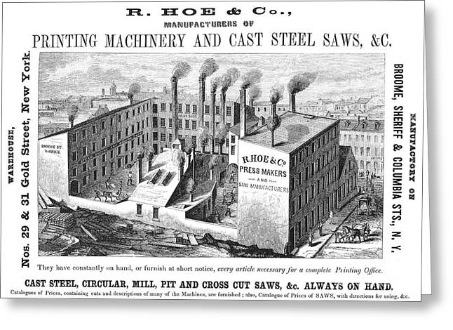 Mill Printing Greeting Cards - New York: Factory, 1855 Greeting Card by Granger