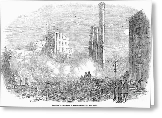 Downtown Franklin Greeting Cards - New York: Fire, 1853 Greeting Card by Granger