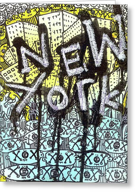 Outsider Greeting Cards - New York Graffiti Scene Greeting Card by Robert Wolverton Jr