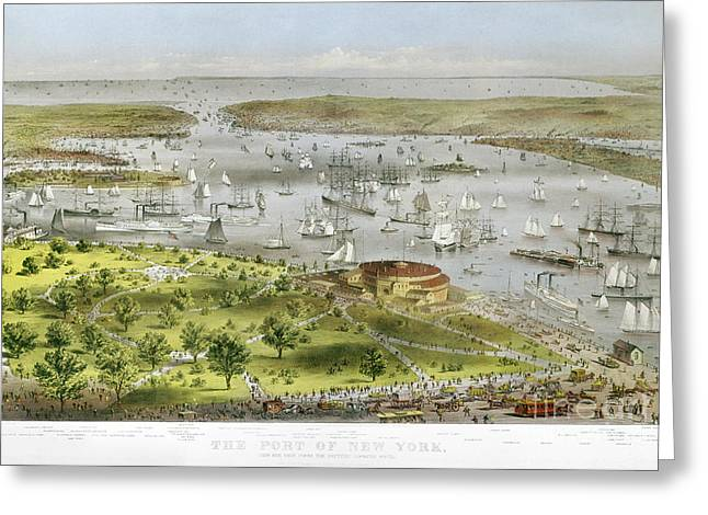 Governor Island Greeting Cards - New York Harbor, 1872 Greeting Card by Granger