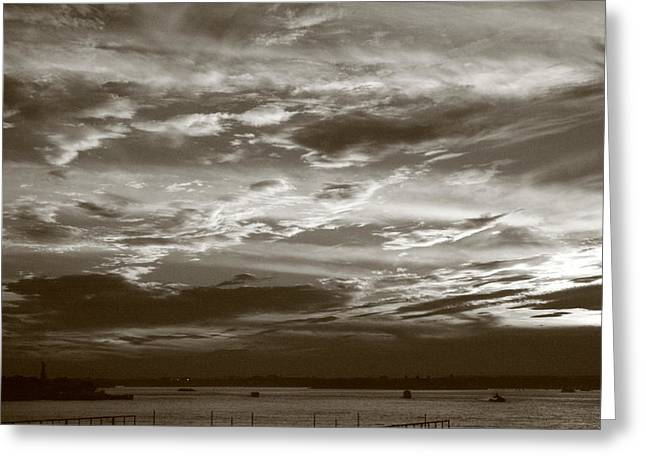 Governor Island Greeting Cards - New York Harbor Black and White Sky Greeting Card by Christopher Kirby