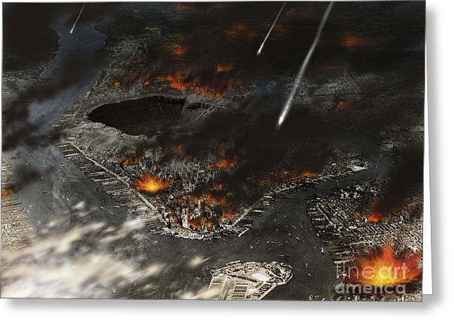 New York Is Being Pummeled By Meteors Greeting Card by Ron Miller