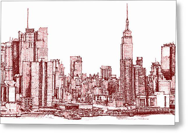 Red Buildings Drawings Greeting Cards - New York maroon ink Greeting Card by Building  Art