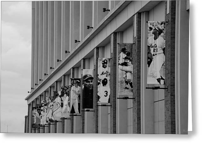 Shea Stadium Digital Greeting Cards - NEW YORK METS of OLD  in BLACK AND WHITE Greeting Card by Rob Hans