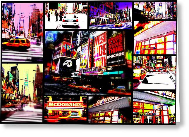 Times Square Digital Art Greeting Cards - New York New York  Greeting Card by Funkpix Photo Hunter