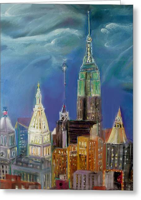 City Buildings Pastels Greeting Cards - New York  NY Greeting Card by Ginna Viveros