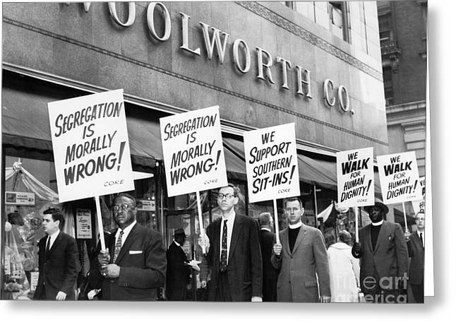 Desegregation Greeting Cards - New York: Picket Line, 1960 Greeting Card by Granger