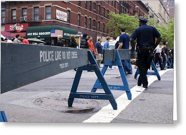 Deli Greeting Cards - New York Police Crowd Control Barriers. Greeting Card by Mark Williamson