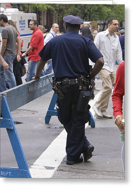 New York Cops Greeting Cards - New York Policeman Leaning On Barrier. Greeting Card by Mark Williamson