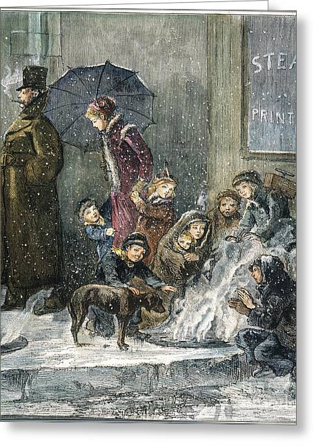 Grate Greeting Cards - New York: Poverty, 1876 Greeting Card by Granger