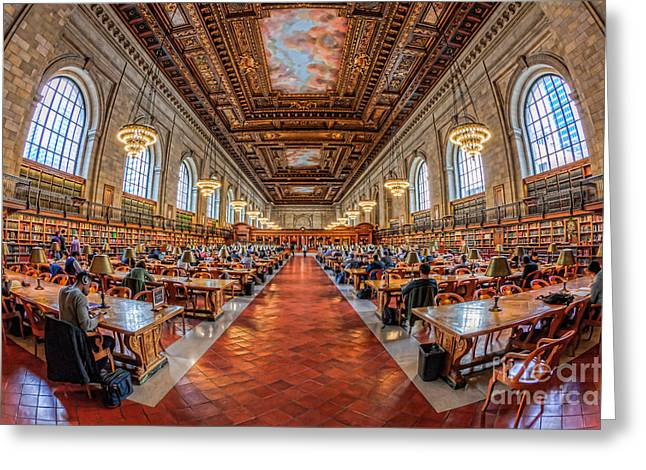 Nypl Greeting Cards - New York Public Library Main Reading Room I Greeting Card by Clarence Holmes
