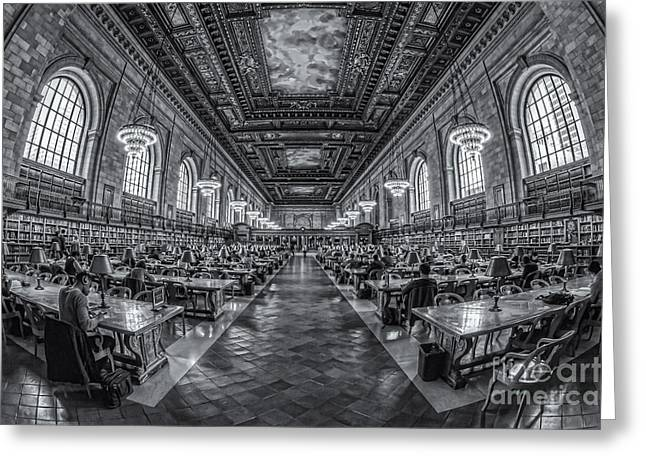 Main Branch Greeting Cards - New York Public Library Main Reading Room IV Greeting Card by Clarence Holmes