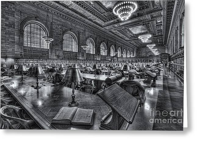 Main Branch Greeting Cards - New York Public Library Main Reading Room VI Greeting Card by Clarence Holmes