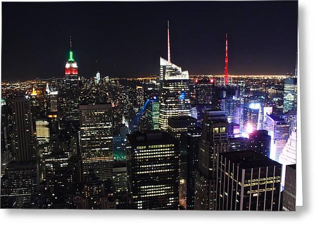 Light Greeting Cards - New York Skyline in Night Greeting Card by Jordan  Drapeau