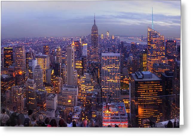 Popular Art Greeting Cards - New York Skyline Panorama Greeting Card by Yhun Suarez