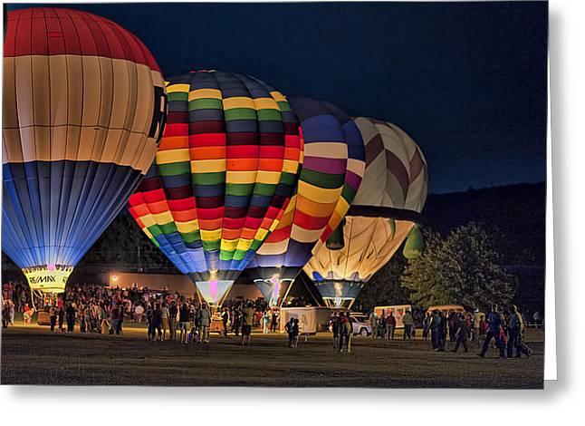 Hot Air Balloon Ride Greeting Cards - New York State Festival of Balloons GLOW Greeting Card by Joe Granita