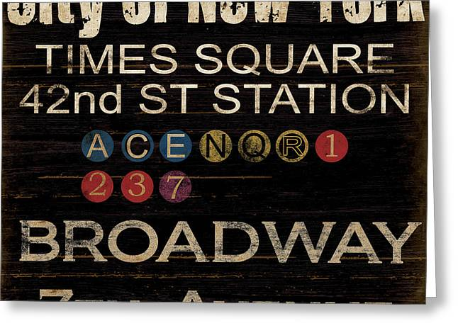 Signs Mixed Media Greeting Cards - New York Subway Greeting Card by Grace Pullen