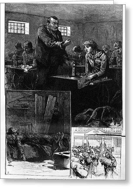 Grand Gestures Greeting Cards - New York: Sweatshop, 1888 Greeting Card by Granger