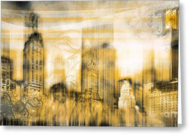 Colourkey Greeting Cards - New York Vintage Style Greeting Card by Frank Waechter