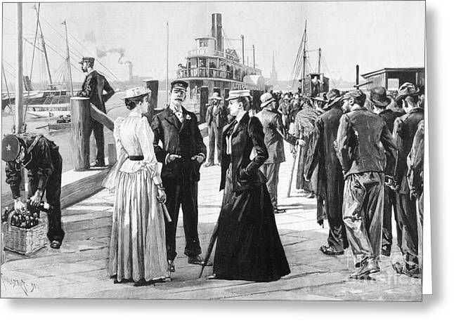 Wine Scene Greeting Cards - New York Waterfront, 1891 Greeting Card by Granger