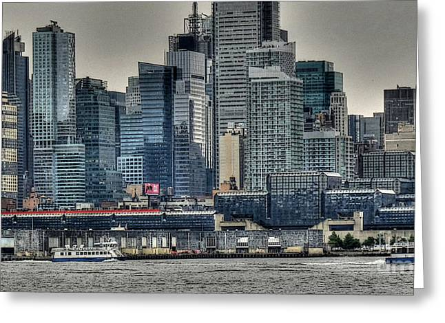 Water Taxi Greeting Cards - New York Waterways Greeting Card by David Bearden
