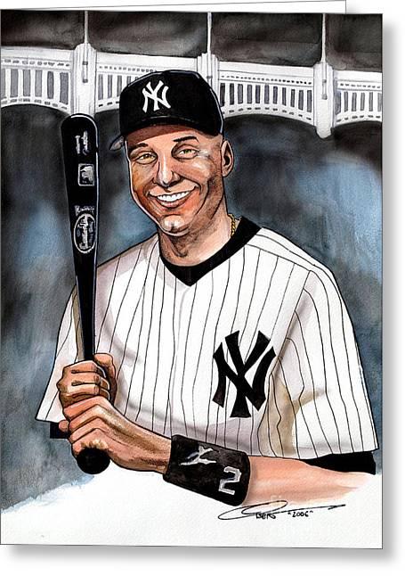 Yankees Drawings Greeting Cards - New York Yankee Derek Jeter Greeting Card by Dave Olsen