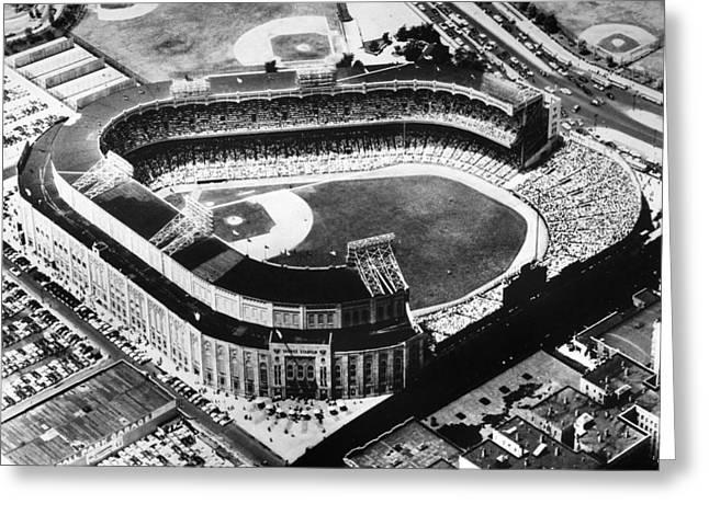 Aerial View Greeting Cards - New York: Yankee Stadium Greeting Card by Granger