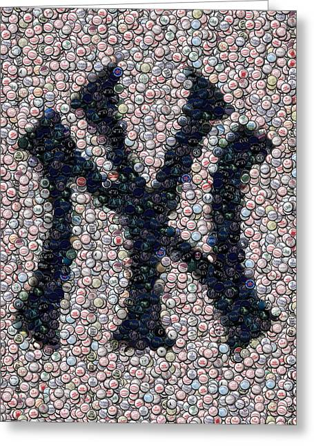 Bottled Mixed Media Greeting Cards - New York Yankees Bottle Cap Mosaic Greeting Card by Paul Van Scott
