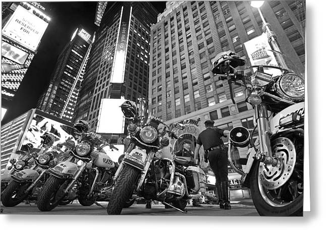 Police Motorcycles Greeting Cards - New Yorks Finest Greeting Card by Robert Lacy