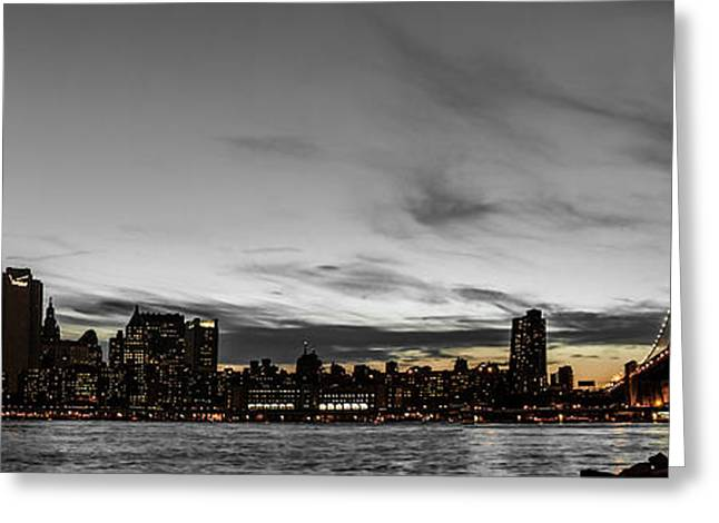 New Yorks Skyline At Night Colorkey Greeting Card by Hannes Cmarits