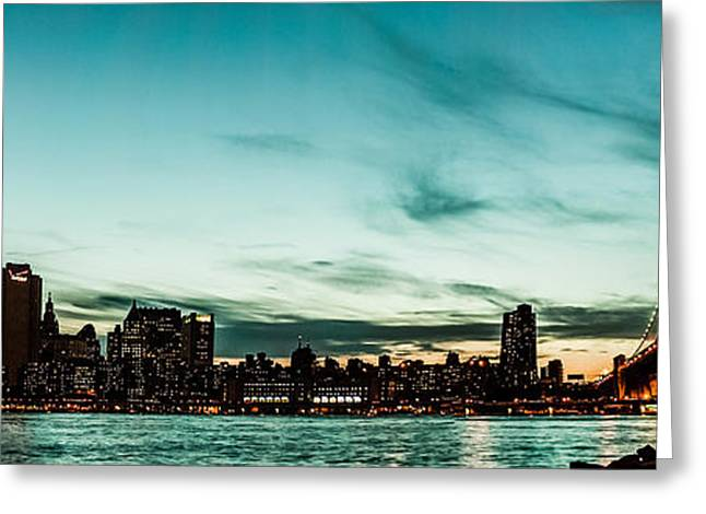 New Yorks skyline at night ice 1 Greeting Card by Hannes Cmarits