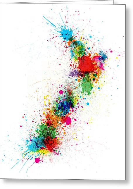 Geography Greeting Cards - New Zealand Paint Splashes Map Greeting Card by Michael Tompsett