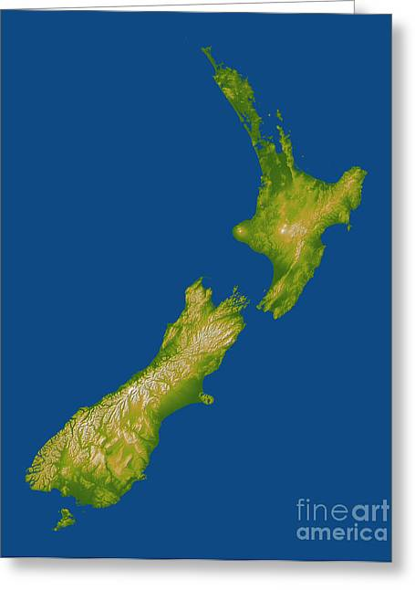 Relief Map Greeting Cards - New Zealand Greeting Card by Stocktrek Images