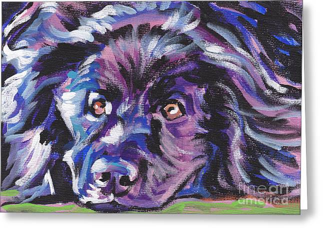 Newfoundland Puppy Greeting Cards - Newfie  Greeting Card by Lea