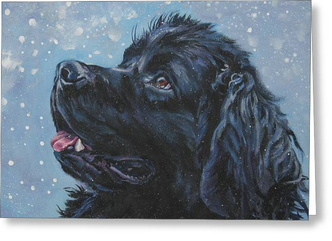 Christmas Dog Greeting Cards - Newfoundland in Snow Greeting Card by Lee Ann Shepard