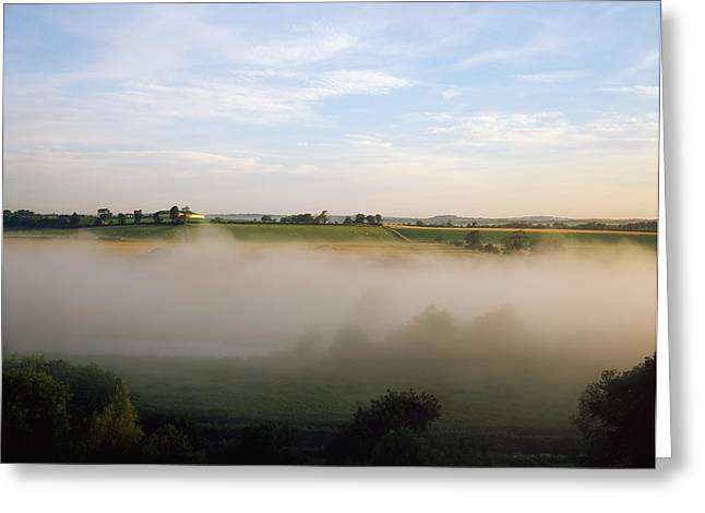 Foggy Day Greeting Cards - Newgrange, Co Meath, Ireland Greeting Card by The Irish Image Collection