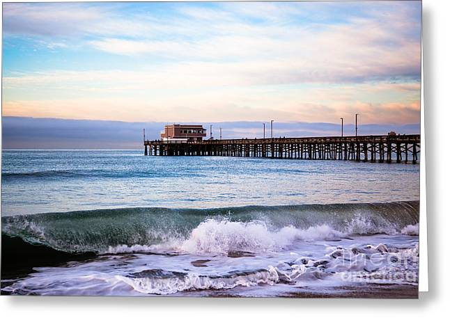 Wave Image Greeting Cards - Newport Beach CA Pier at Sunrise Greeting Card by Paul Velgos
