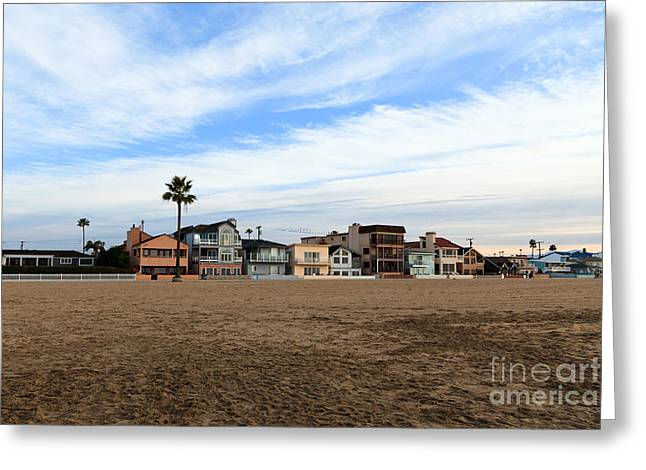 Balboa Greeting Cards - Newport Beach Oceanfront Houses Greeting Card by Paul Velgos
