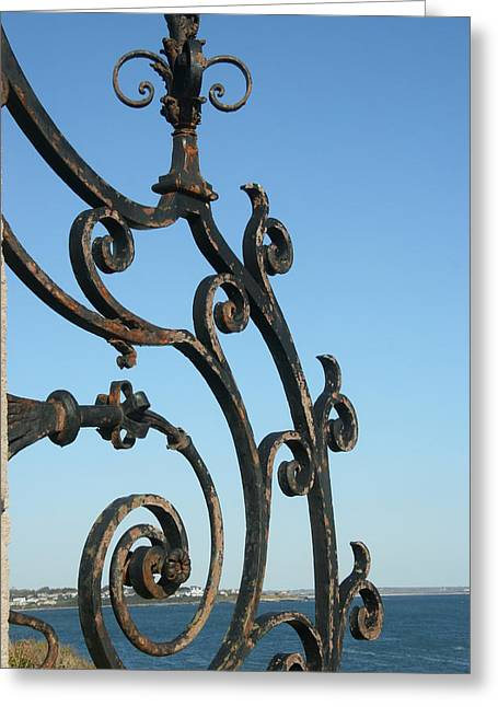 Best Sellers -  - Antique Ironwork Greeting Cards - Newport Cliffwalk Greeting Card by Kathy Dahmen