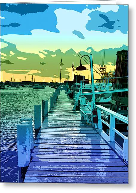 Docked Boats Digital Greeting Cards - Newport Docks Greeting Card by Stephen Younts