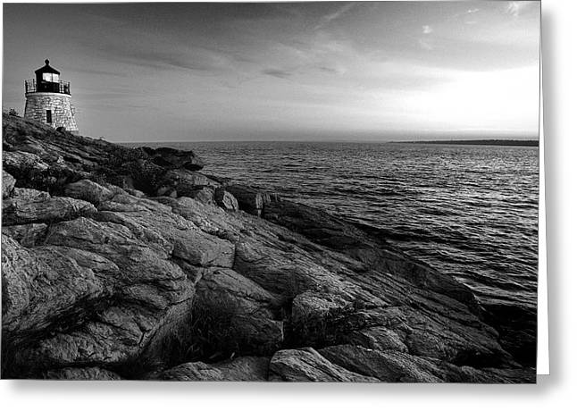 Newport Rhode Island-castle Hill Black And White Greeting Card by Thomas Schoeller