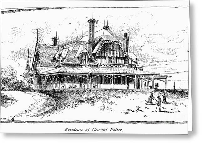 1870s Greeting Cards - NEWPORT: VILLA, 1870s Greeting Card by Granger