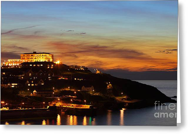Ocean. Reflection Greeting Cards - Newquay Harbor at Night Greeting Card by Nicholas Burningham